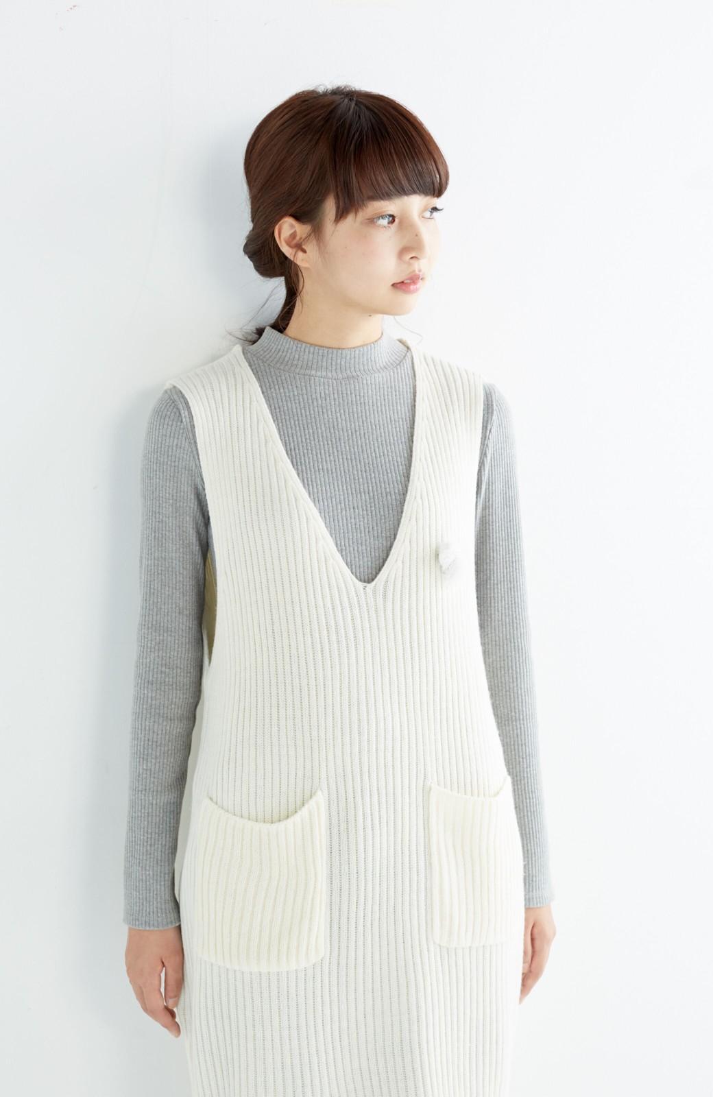 haco! うさぎシルエットのアンチピリングニットジャンパースカート <オフホワイト>の商品写真11