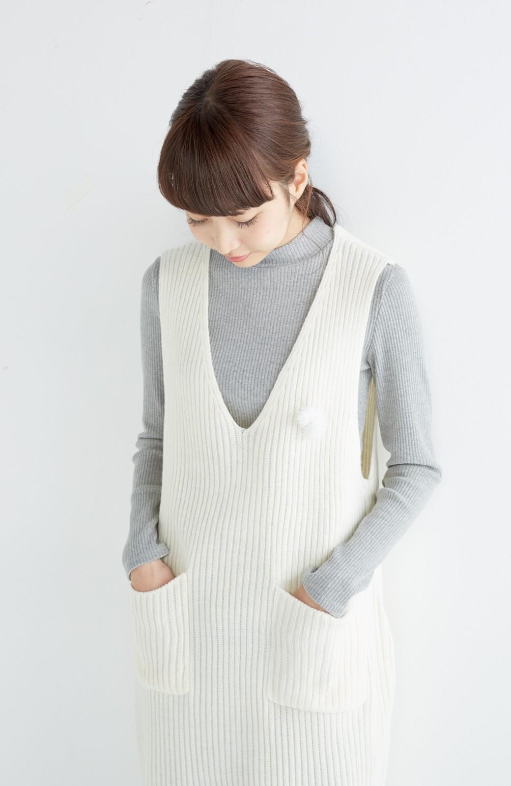 haco! うさぎシルエットのアンチピリングニットジャンパースカート <オフホワイト>の商品写真12