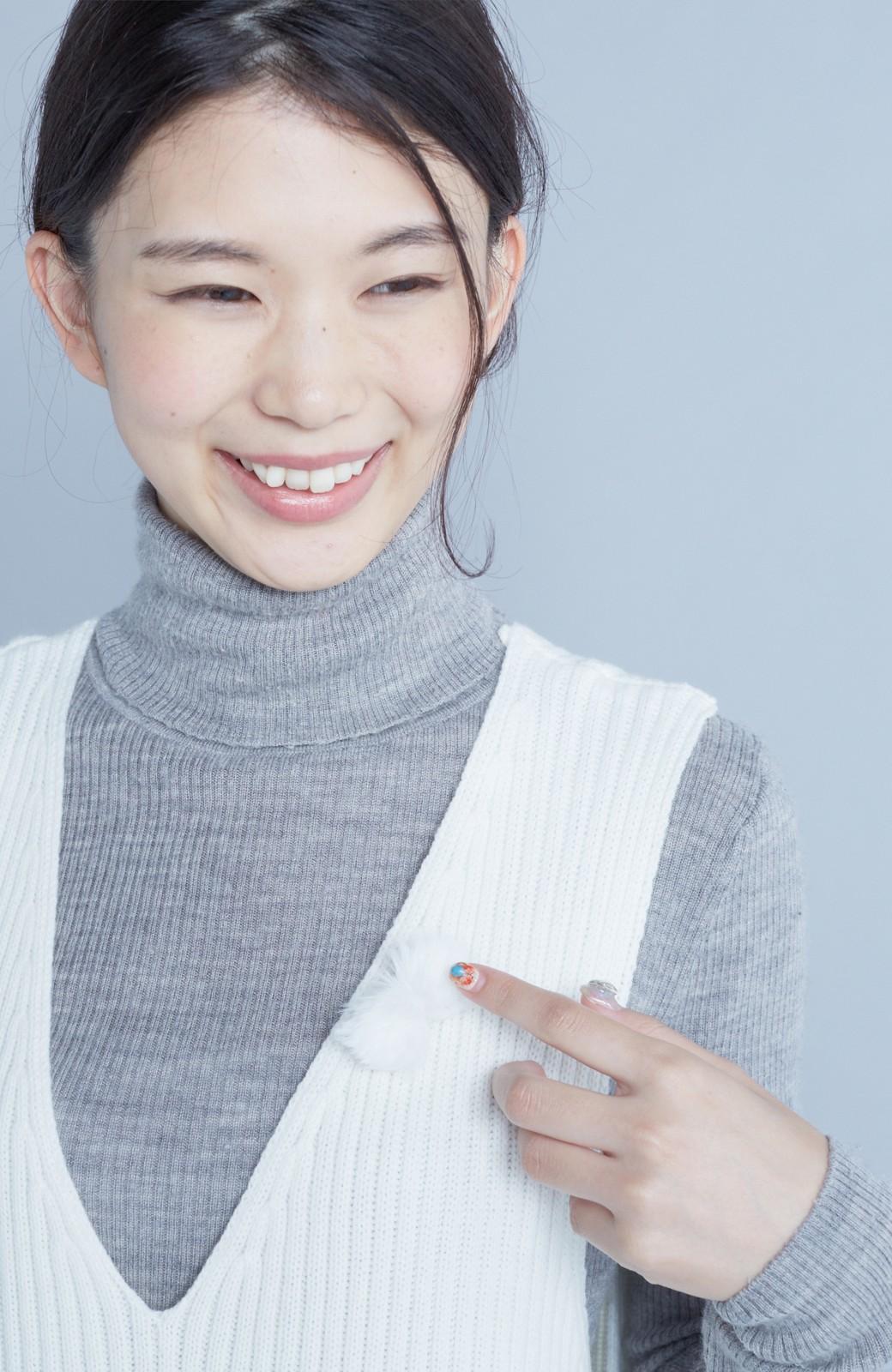 haco! うさぎシルエットのアンチピリングニットジャンパースカート <オフホワイト>の商品写真13