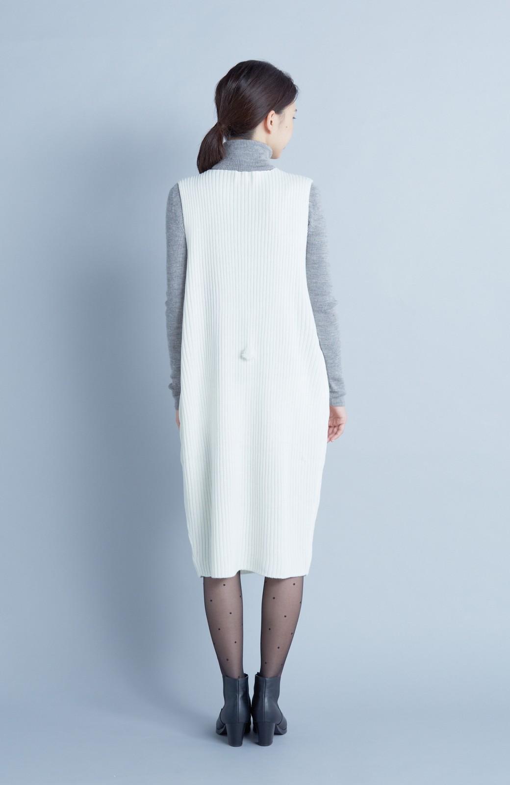 haco! うさぎシルエットのアンチピリングニットジャンパースカート <オフホワイト>の商品写真6