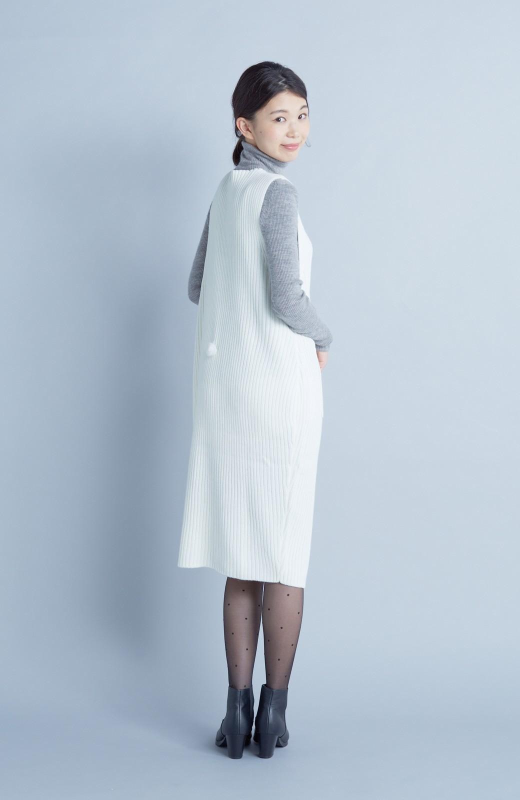 haco! うさぎシルエットのアンチピリングニットジャンパースカート <オフホワイト>の商品写真7