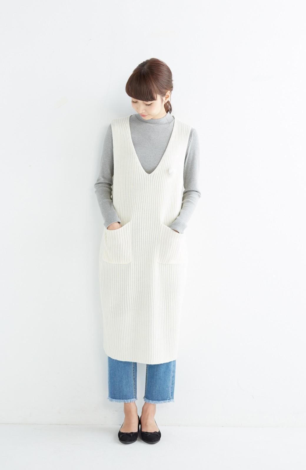 haco! うさぎシルエットのアンチピリングニットジャンパースカート <オフホワイト>の商品写真4