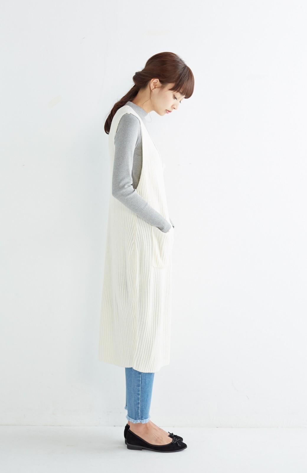 haco! うさぎシルエットのアンチピリングニットジャンパースカート <オフホワイト>の商品写真8