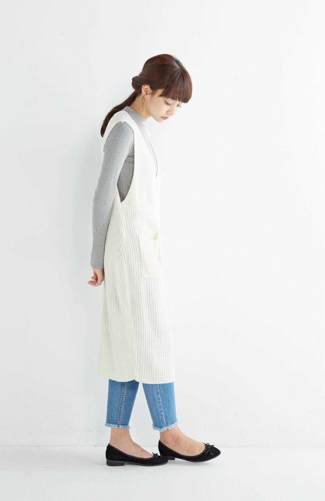 haco! うさぎシルエットのアンチピリングニットジャンパースカート <オフホワイト>の商品写真9