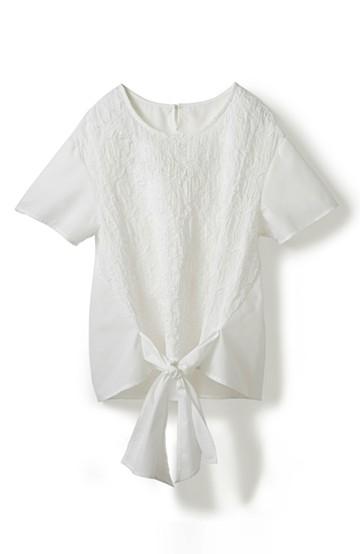エムトロワ フロントリボン&刺しゅうがかわいいプルオーバーブラウス <ホワイト>の商品写真