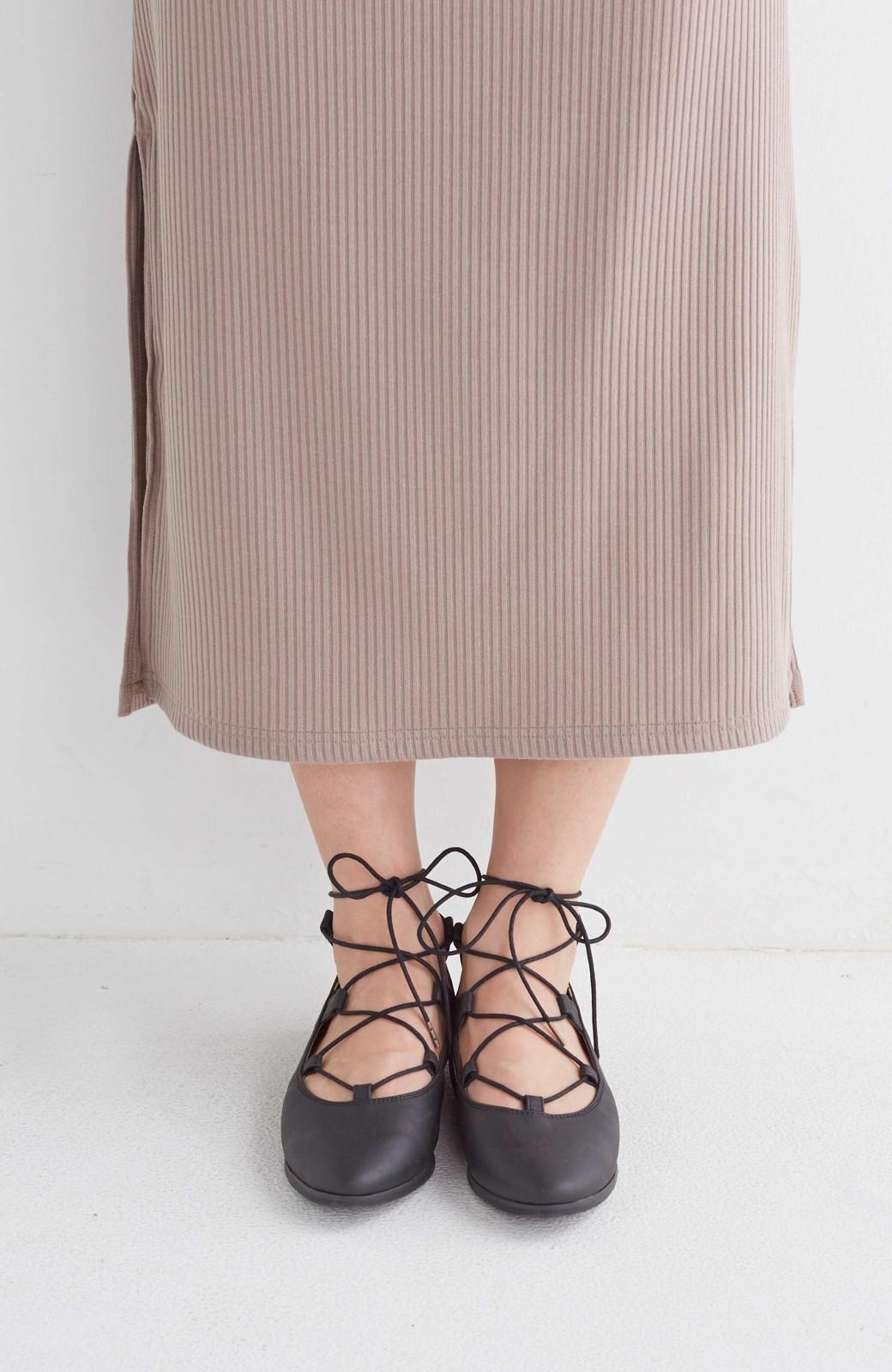 nusy 足もとポイントの編み上げパンプス <ブラック>の商品写真3