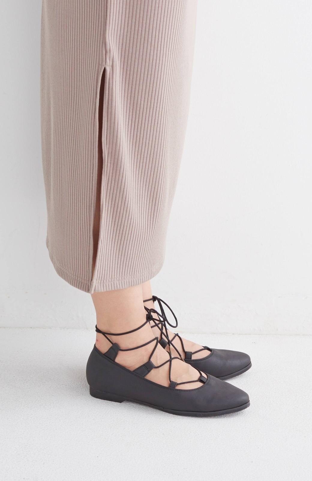 nusy 足もとポイントの編み上げパンプス <ブラック>の商品写真4