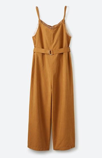haco! <高橋愛さんコラボ>ラブ&ピースプロジェクト チュールポイントのベルト付きオールインワン <マスタード>の商品写真