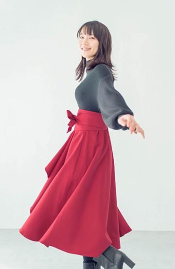 haco! <吉岡里帆さんコラボ>ラブ&ピースプロジェクト サッシュベルト付きフレアースカート <レッド>の商品写真