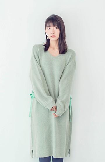 haco! <吉岡里帆さんコラボ>ラブ&ピースプロジェクト サイドリボンニットワンピース <グリーン>の商品写真