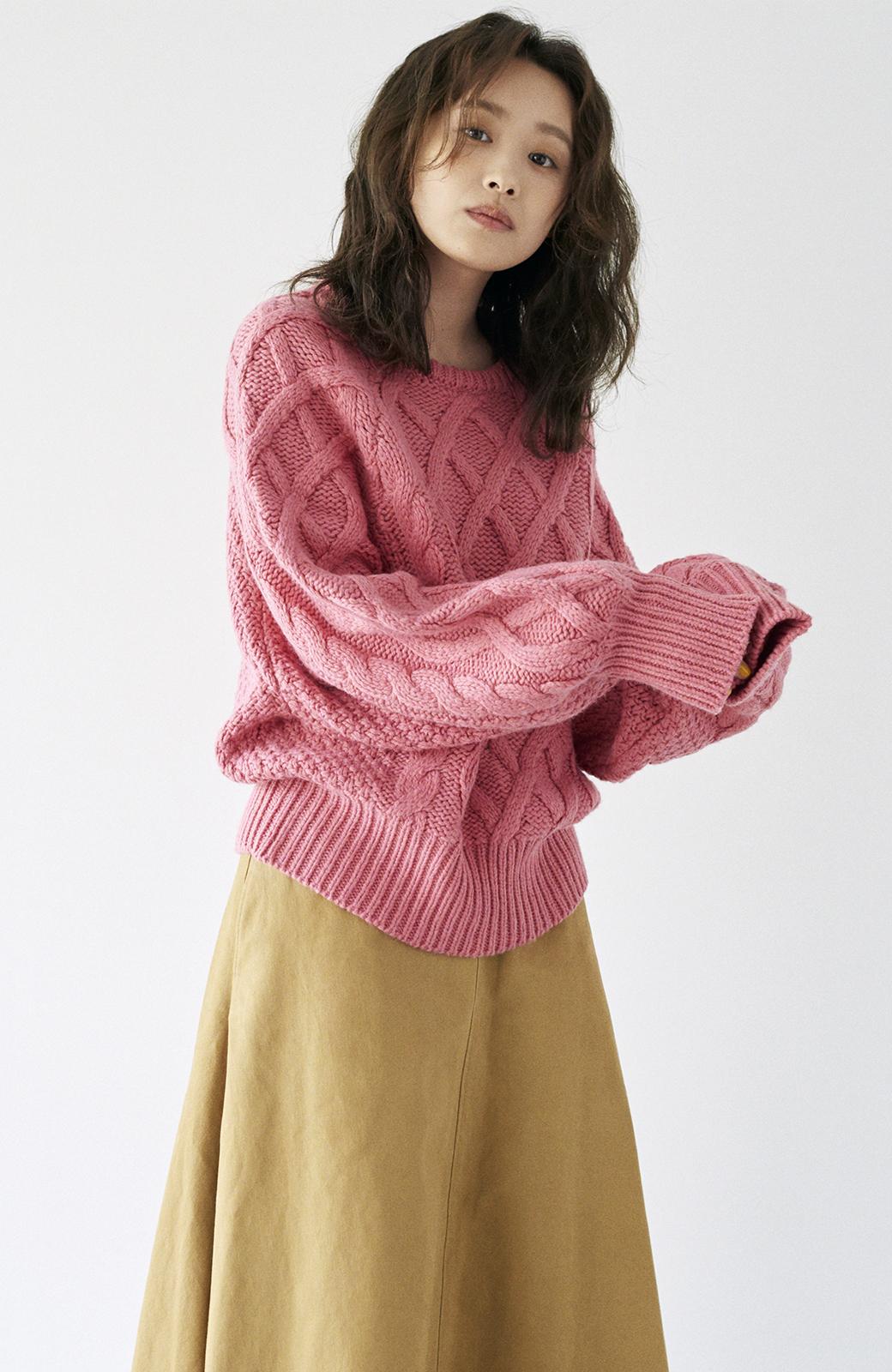 haco! <高橋愛さんコラボ>ラブ&ピースプロジェクト ミックスケーブル編みニット  <ピンク>の商品写真22