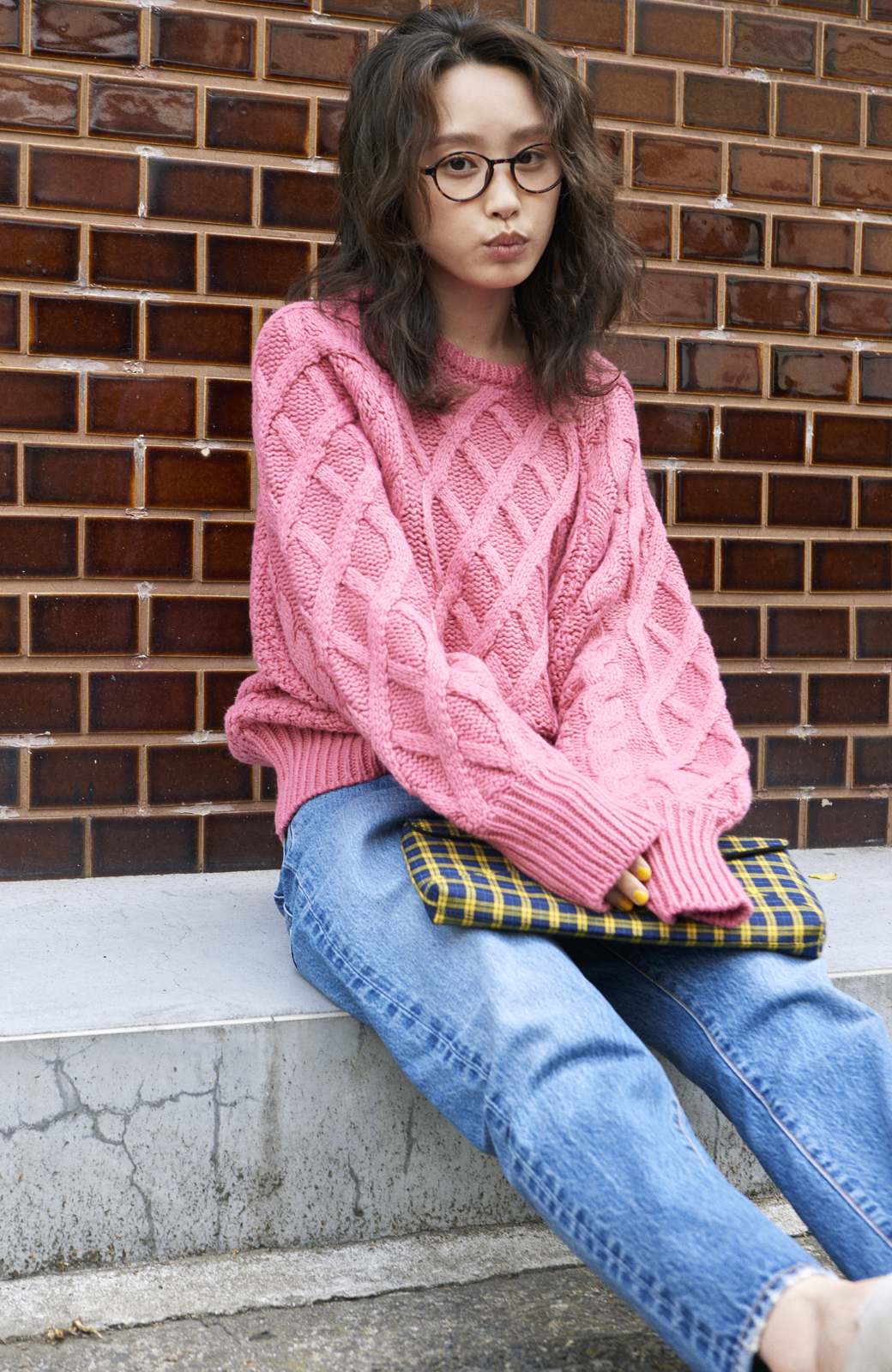 haco! <高橋愛さんコラボ>ラブ&ピースプロジェクト ミックスケーブル編みニット  <ピンク>の商品写真9