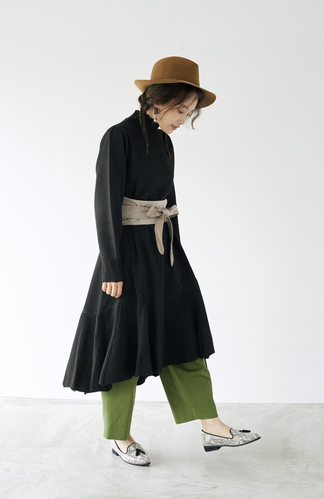 haco! <高橋愛さんコラボ>ラブ&ピースプロジェクト  フレアーヘムラインニットワンピース <ブラック>の商品写真17