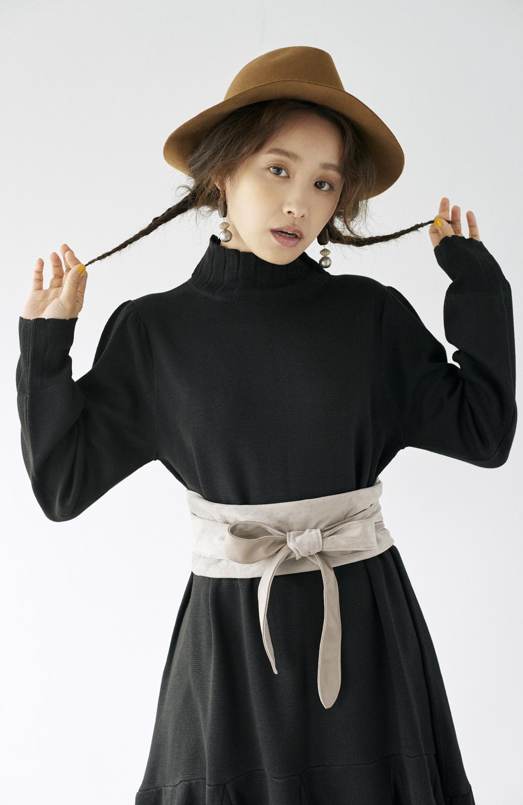haco! <高橋愛さんコラボ>ラブ&ピースプロジェクト  フレアーヘムラインニットワンピース <ブラック>の商品写真20