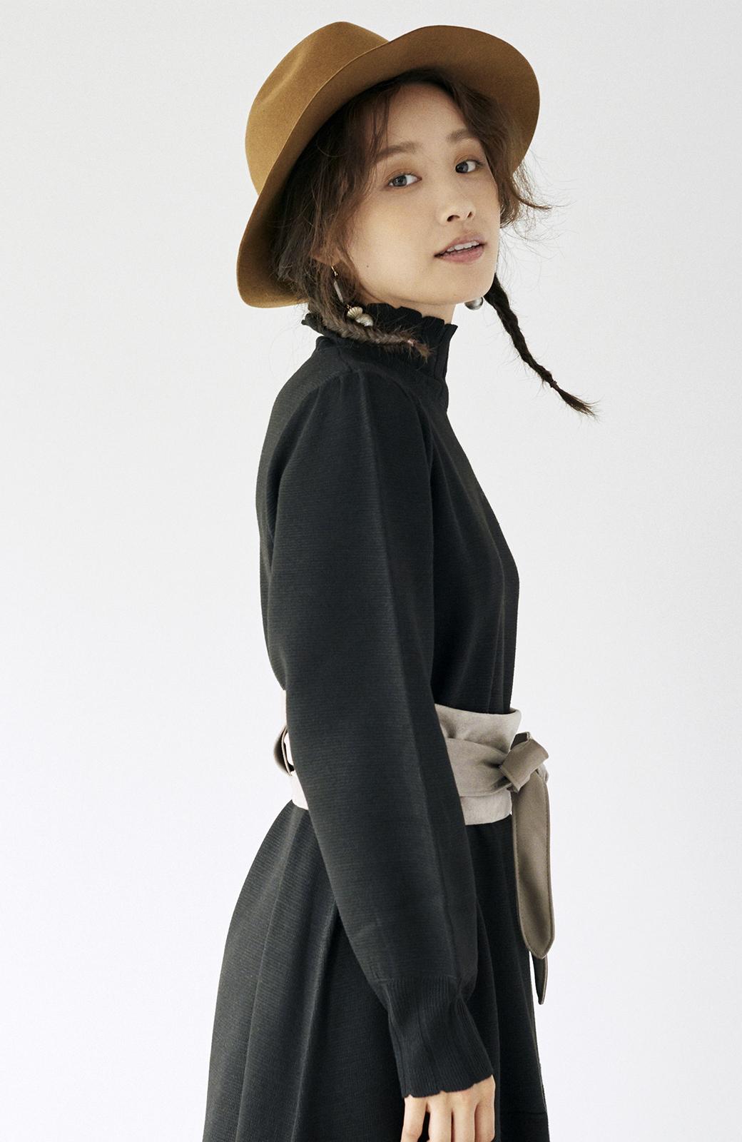 haco! <高橋愛さんコラボ>ラブ&ピースプロジェクト  フレアーヘムラインニットワンピース <ブラック>の商品写真21