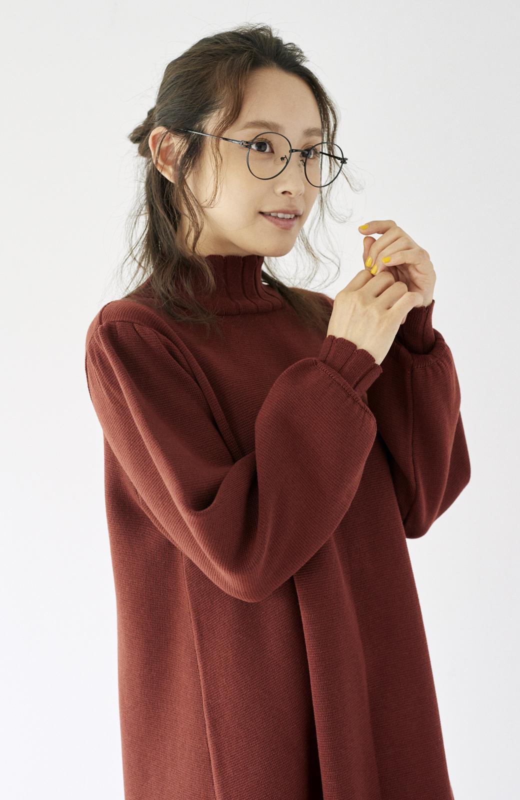 haco! <高橋愛さんコラボ>ラブ&ピースプロジェクト  フレアーヘムラインニットワンピース <ブラウン>の商品写真14