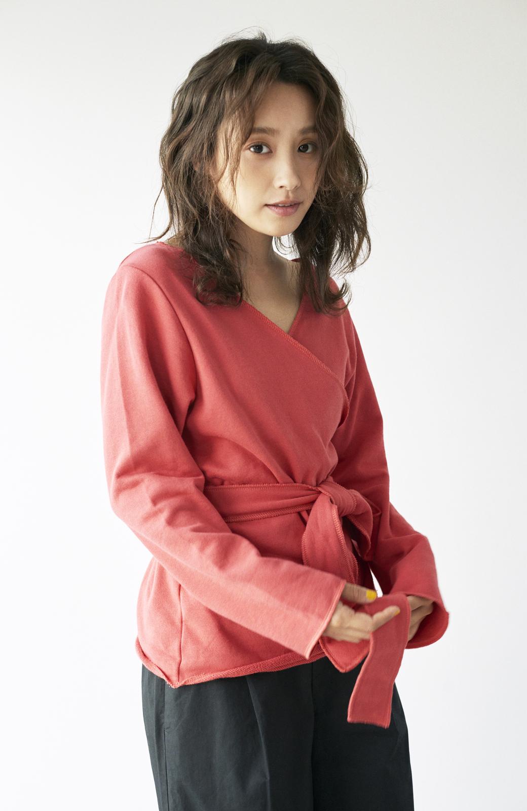 haco! <高橋愛さんコラボ>ラブ&ピースプロジェクト  カシュクールスウェットトップス <レッド>の商品写真20