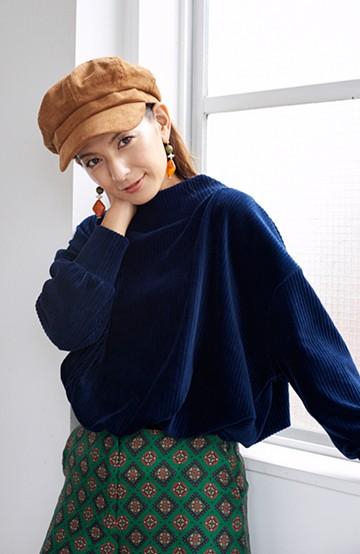 haco! <スザンヌさんコラボ>ラブ&ピースプロジェクト コーデュロイドルマントップス <ネイビー>の商品写真