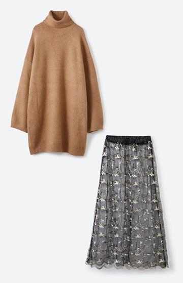 haco! <スザンヌさんコラボ>ラブ&ピースプロジェクト ニットワンピ&チュール刺しゅうスカートセット <ベージュ系その他>の商品写真
