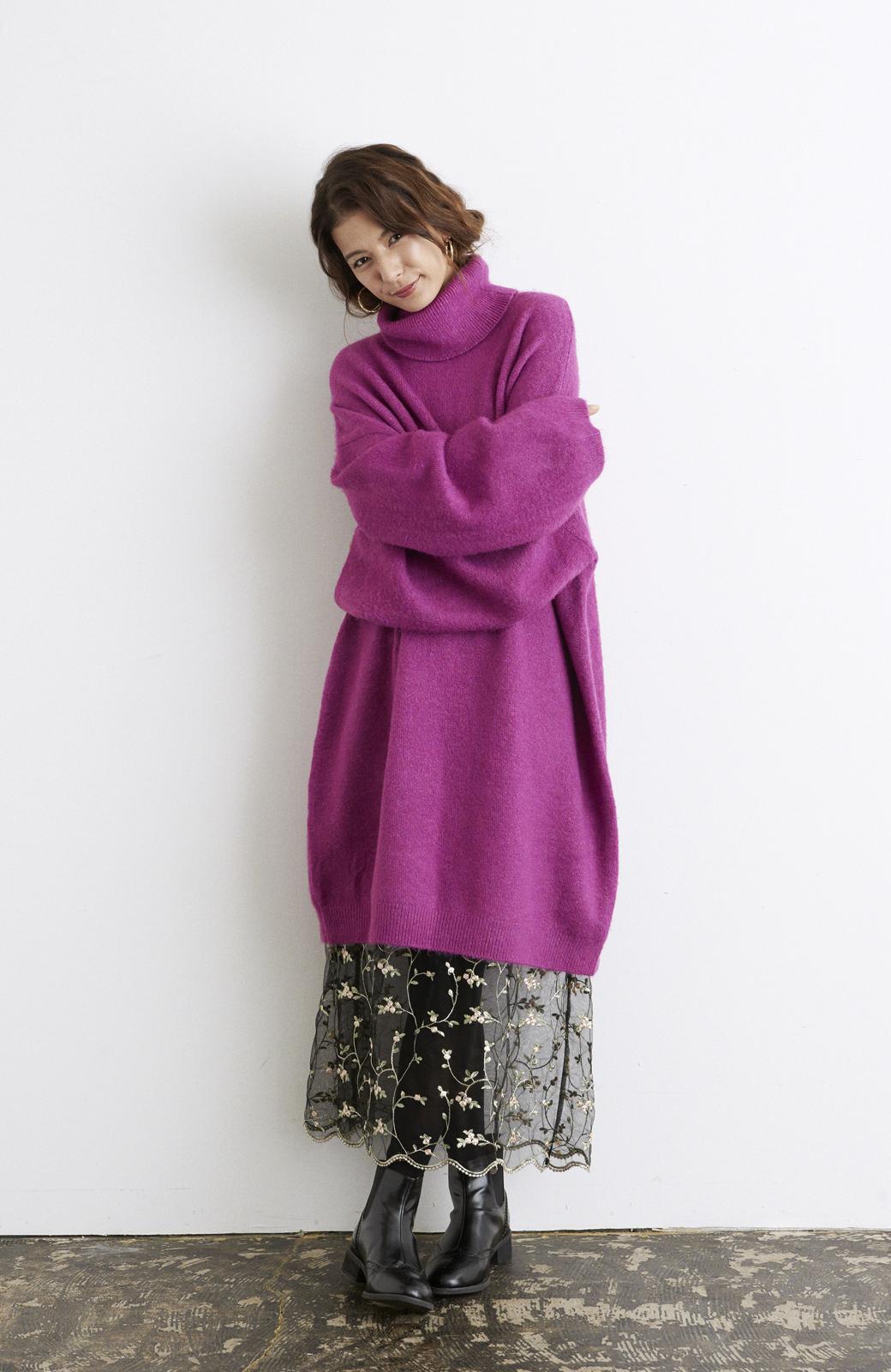 haco! <スザンヌさんコラボ>ラブ&ピースプロジェクト ニットワンピ&チュール刺しゅうスカートセット <パープル系その他>の商品写真7