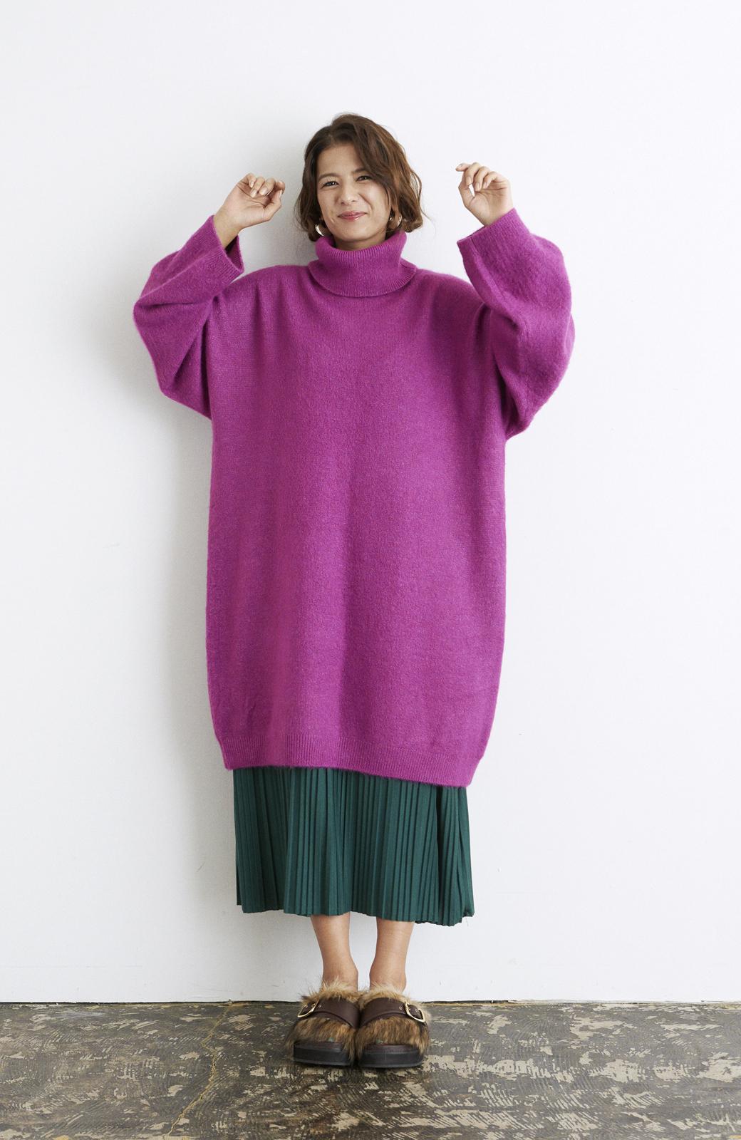 haco! <スザンヌさんコラボ>ラブ&ピースプロジェクト ニットワンピ&チュール刺しゅうスカートセット <パープル系その他>の商品写真17