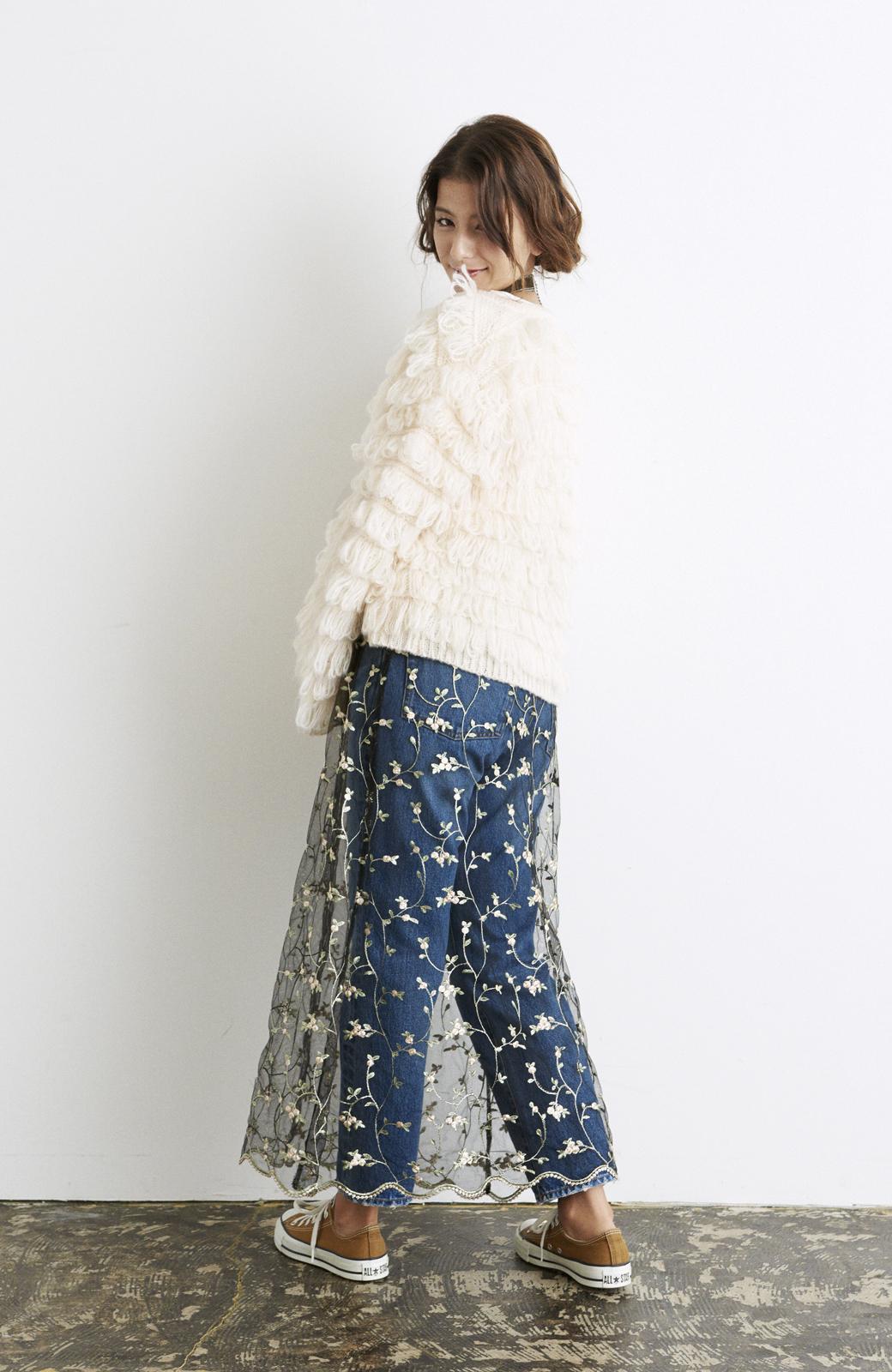 haco! <スザンヌさんコラボ>ラブ&ピースプロジェクト ニットワンピ&チュール刺しゅうスカートセット <パープル系その他>の商品写真20