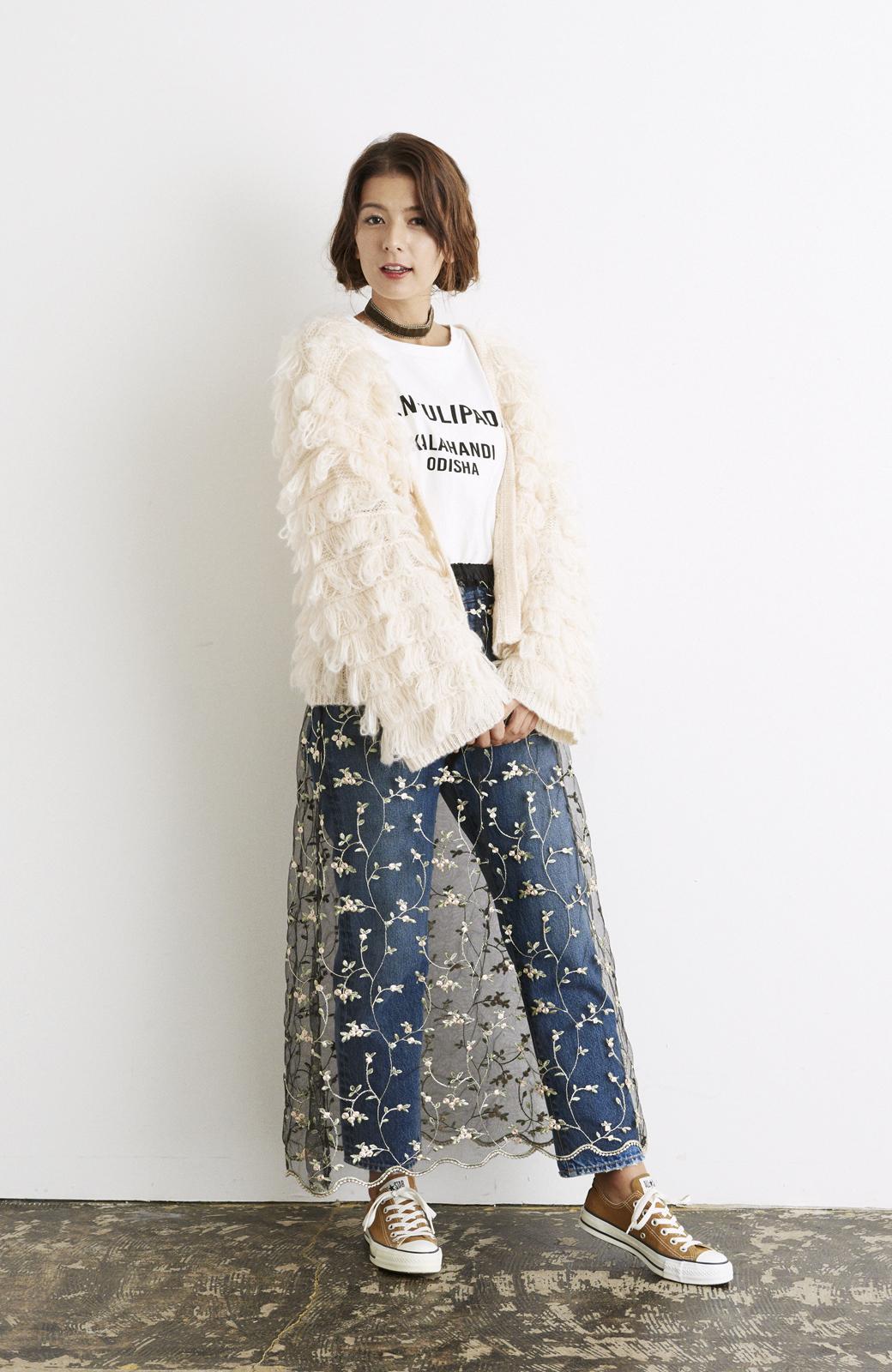 haco! <スザンヌさんコラボ>ラブ&ピースプロジェクト ニットワンピ&チュール刺しゅうスカートセット <パープル系その他>の商品写真21
