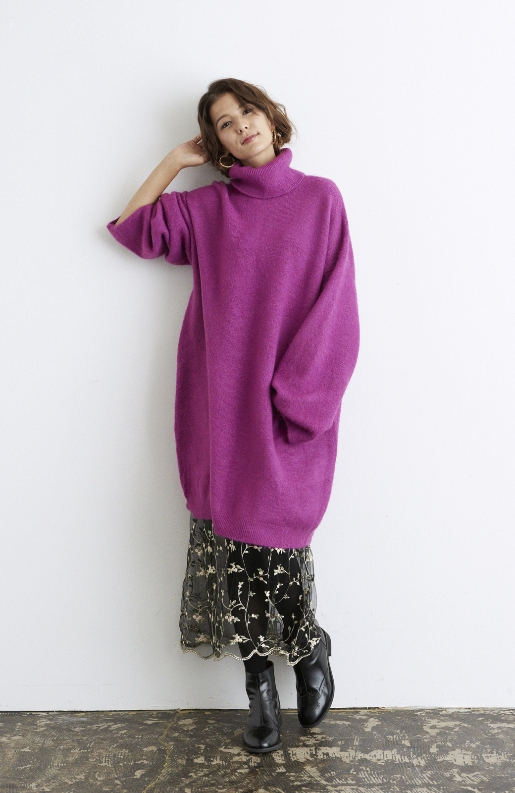 haco! <スザンヌさんコラボ>ラブ&ピースプロジェクト ニットワンピ&チュール刺しゅうスカートセット <パープル系その他>の商品写真8