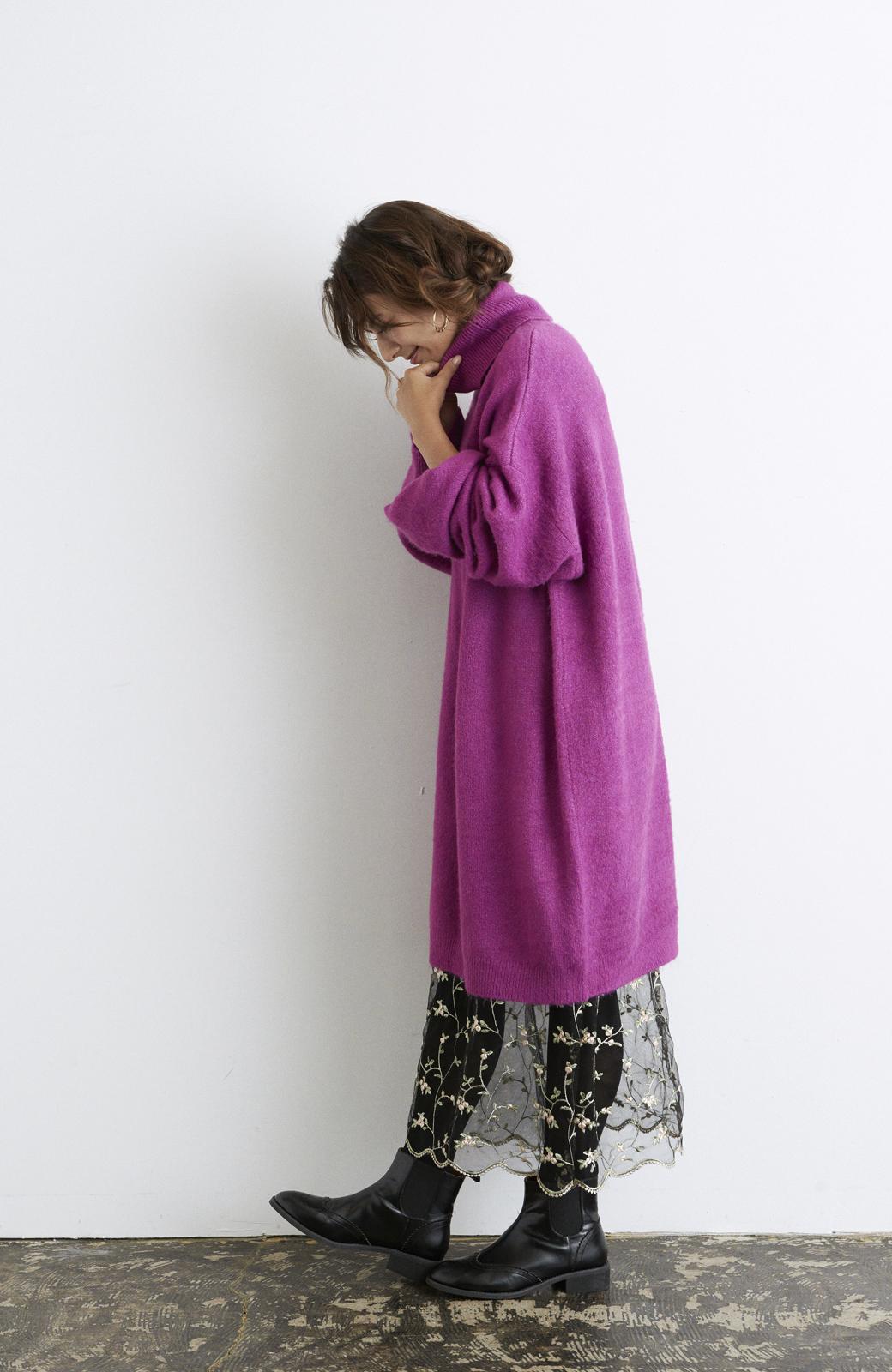haco! <スザンヌさんコラボ>ラブ&ピースプロジェクト ニットワンピ&チュール刺しゅうスカートセット <パープル系その他>の商品写真9