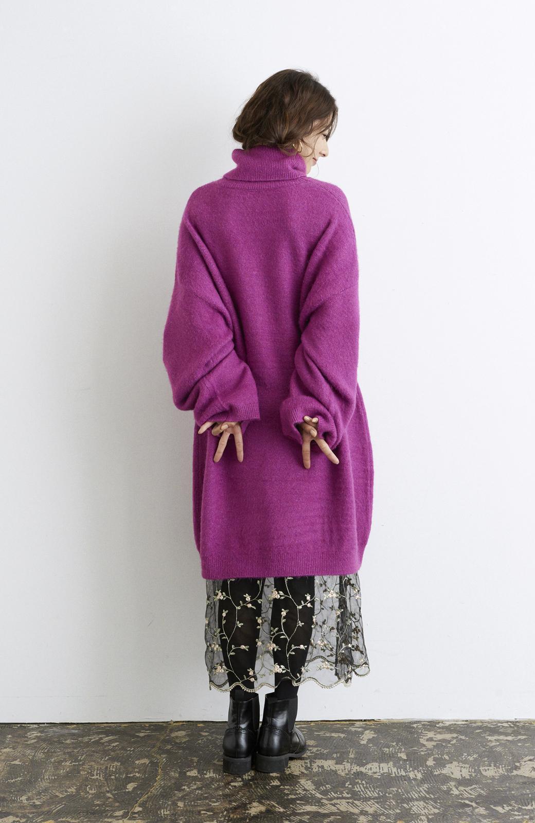 haco! <スザンヌさんコラボ>ラブ&ピースプロジェクト ニットワンピ&チュール刺しゅうスカートセット <パープル系その他>の商品写真12