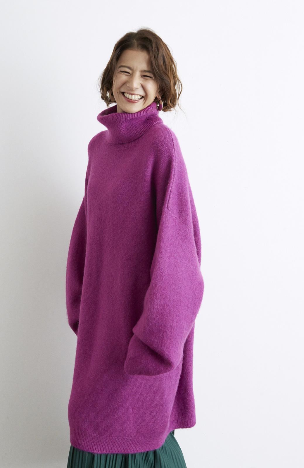 haco! <スザンヌさんコラボ>ラブ&ピースプロジェクト ニットワンピ&チュール刺しゅうスカートセット <パープル系その他>の商品写真13