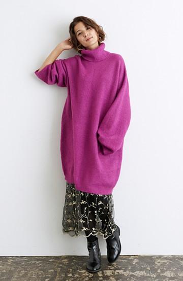 haco! <スザンヌさんコラボ>ラブ&ピースプロジェクト ニットワンピ&チュール刺しゅうスカートセット <パープル系その他>の商品写真
