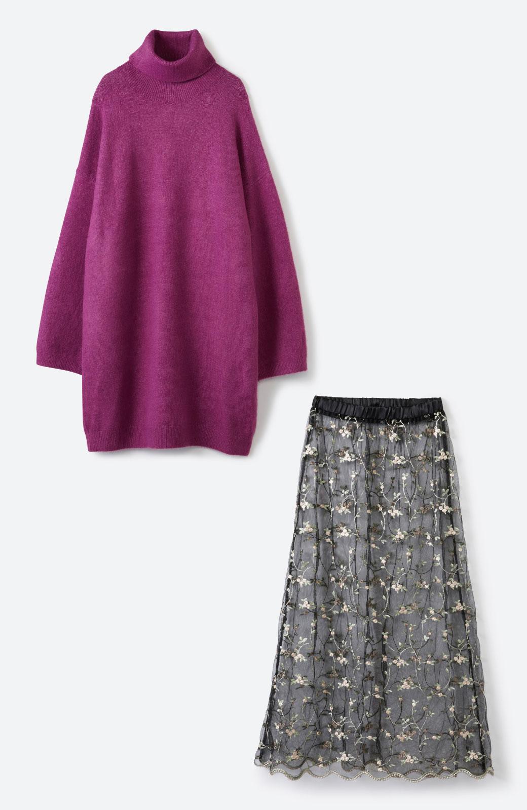 haco! <スザンヌさんコラボ>ラブ&ピースプロジェクト ニットワンピ&チュール刺しゅうスカートセット <パープル系その他>の商品写真2