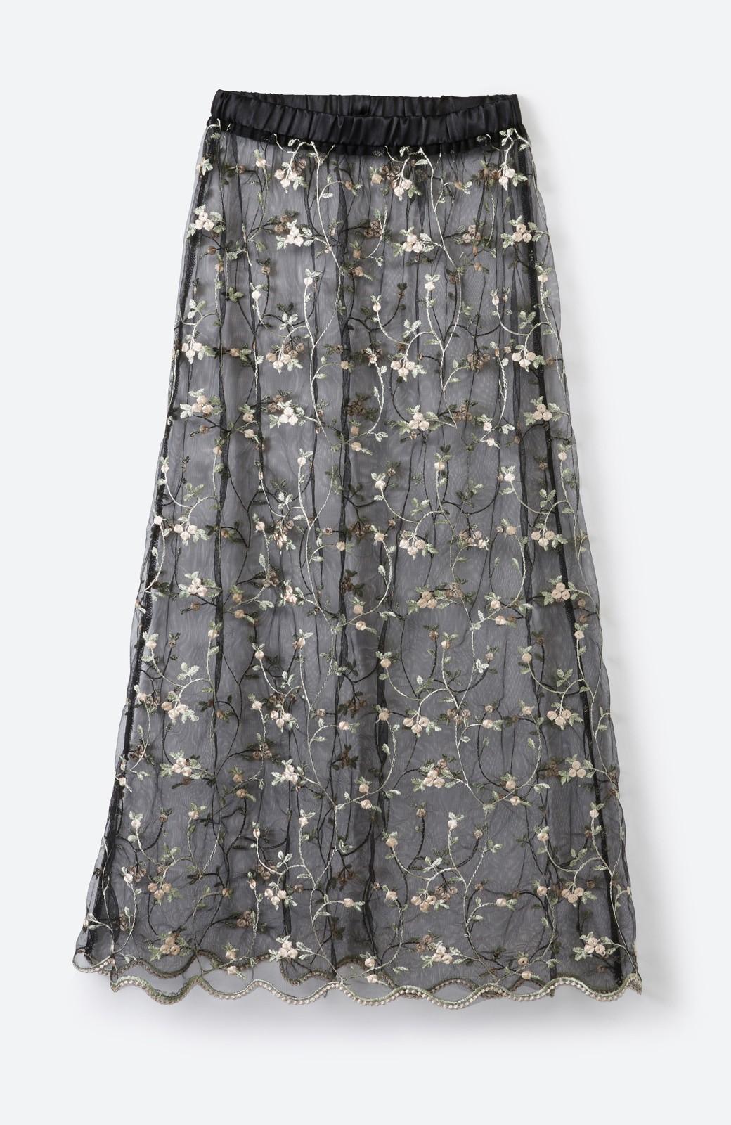 haco! <スザンヌさんコラボ>ラブ&ピースプロジェクト ニットワンピ&チュール刺しゅうスカートセット <パープル系その他>の商品写真5