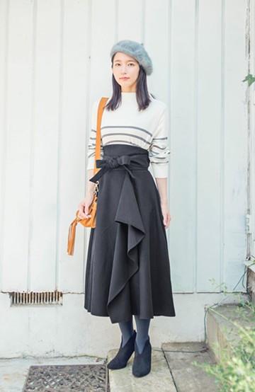 haco! <吉岡里帆さんコラボ>ラブ&ピースプロジェクト サッシュベルト付きフレアースカート <ブラック>の商品写真