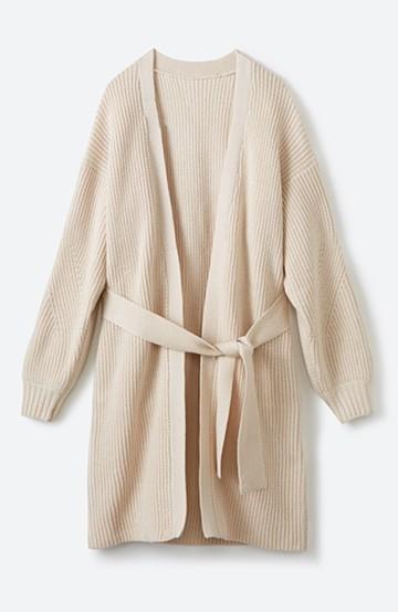haco! さっと羽織るのにちょうどいい ぷっくり袖のあぜ編みニットガウン <アイボリー>の商品写真