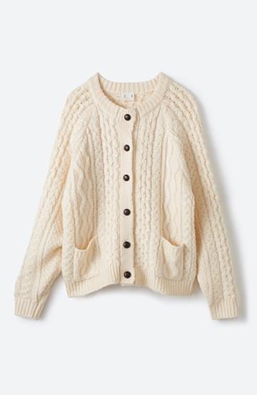 haco! 古着屋さんで見つけたようなもっふりケーブル編みカーディガン <オフホワイト>の商品写真