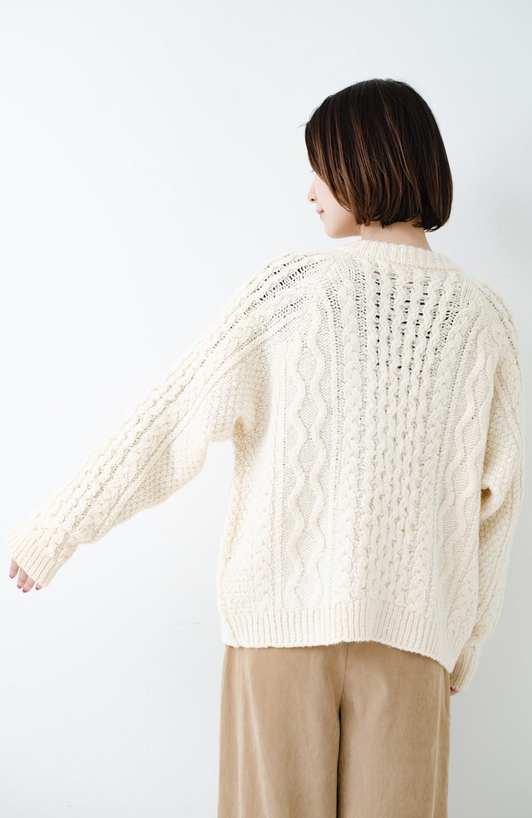 haco! 古着屋さんで見つけたようなもっふりケーブル編みカーディガン <オフホワイト>の商品写真24