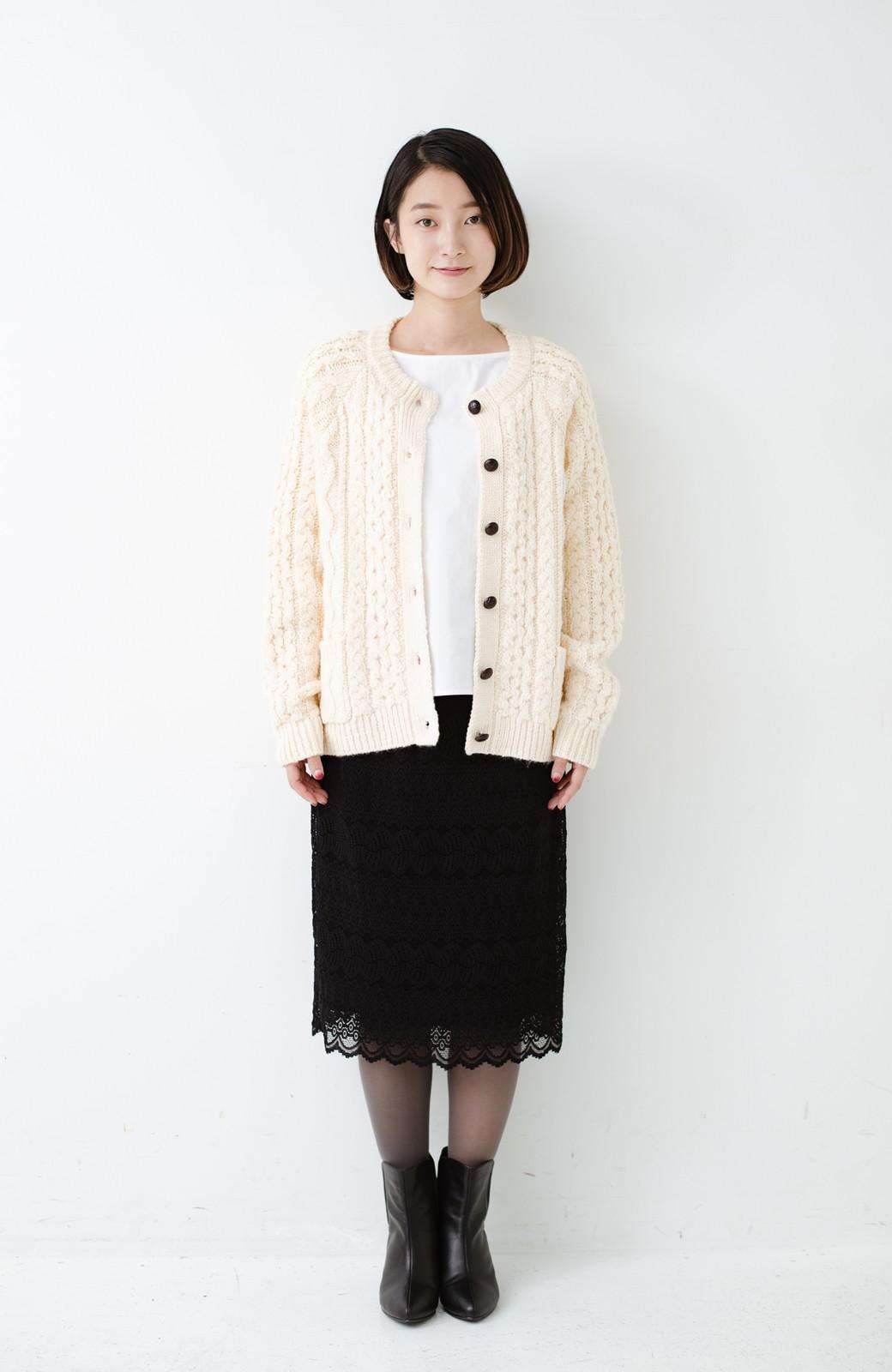haco! 古着屋さんで見つけたようなもっふりケーブル編みカーディガン <オフホワイト>の商品写真7