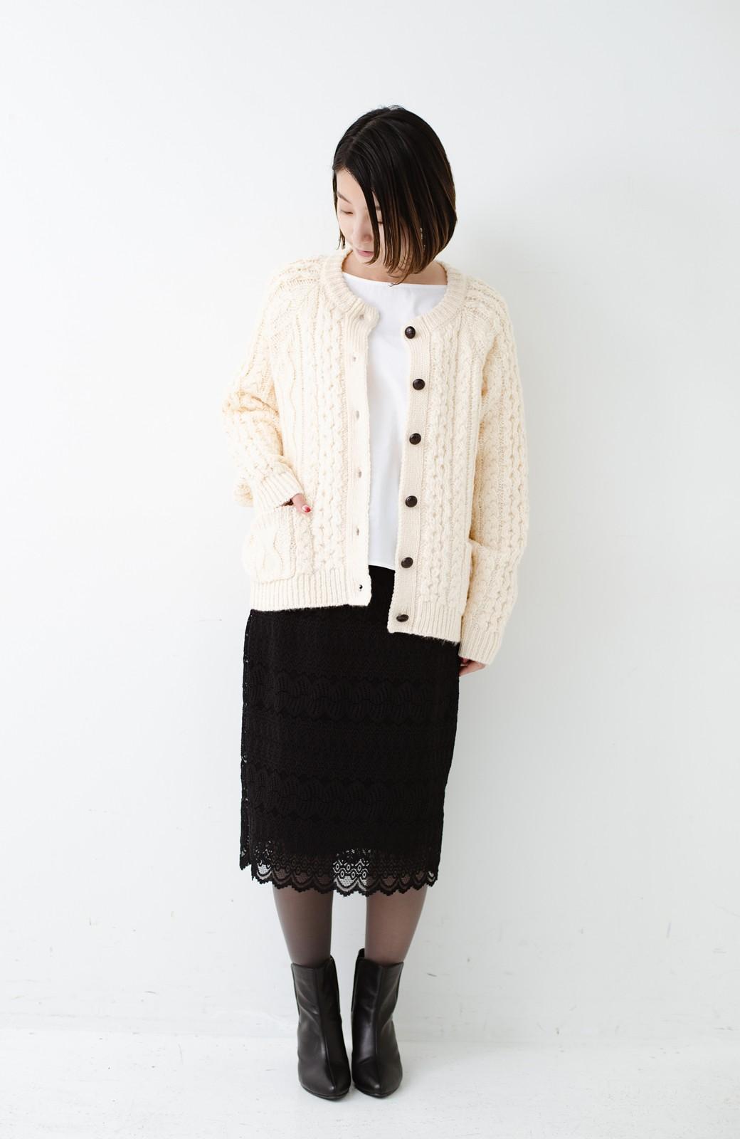 haco! 古着屋さんで見つけたようなもっふりケーブル編みカーディガン <オフホワイト>の商品写真9