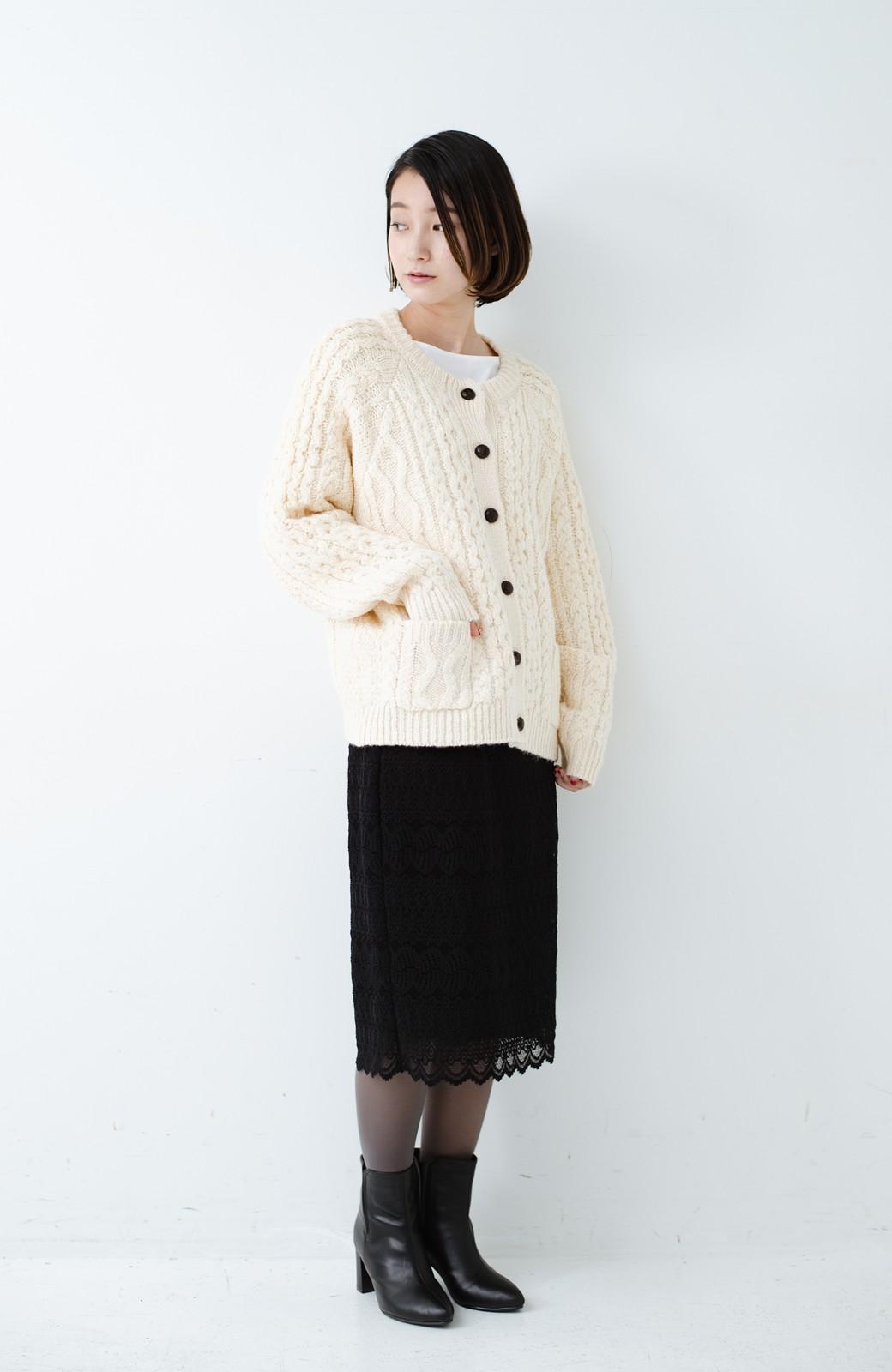 haco! 古着屋さんで見つけたようなもっふりケーブル編みカーディガン <オフホワイト>の商品写真11