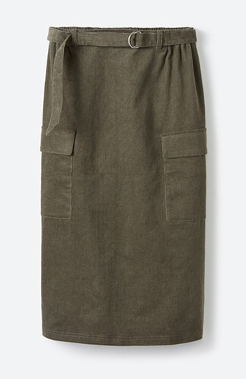 haco! すっきり見えて動きやすい ストレッチコーデュロイのタイトスカート <カーキ>の商品写真