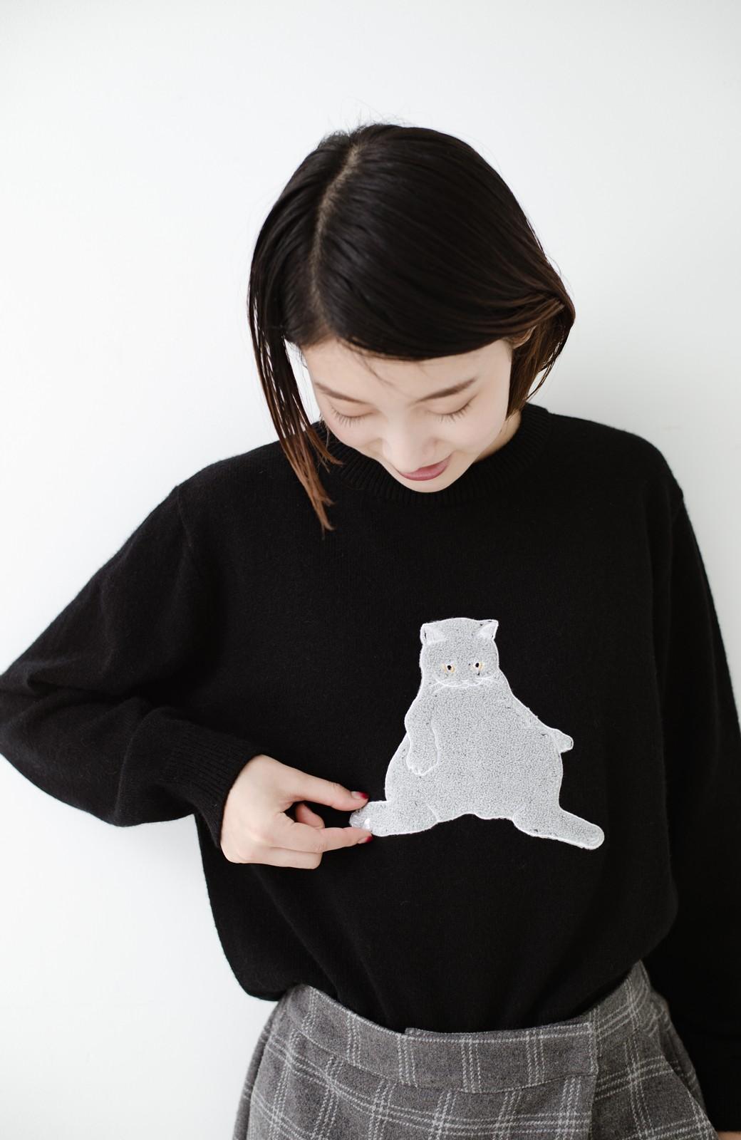 haco! 愛猫Paulのさがら刺しゅうニットトップス <ブラック>の商品写真14