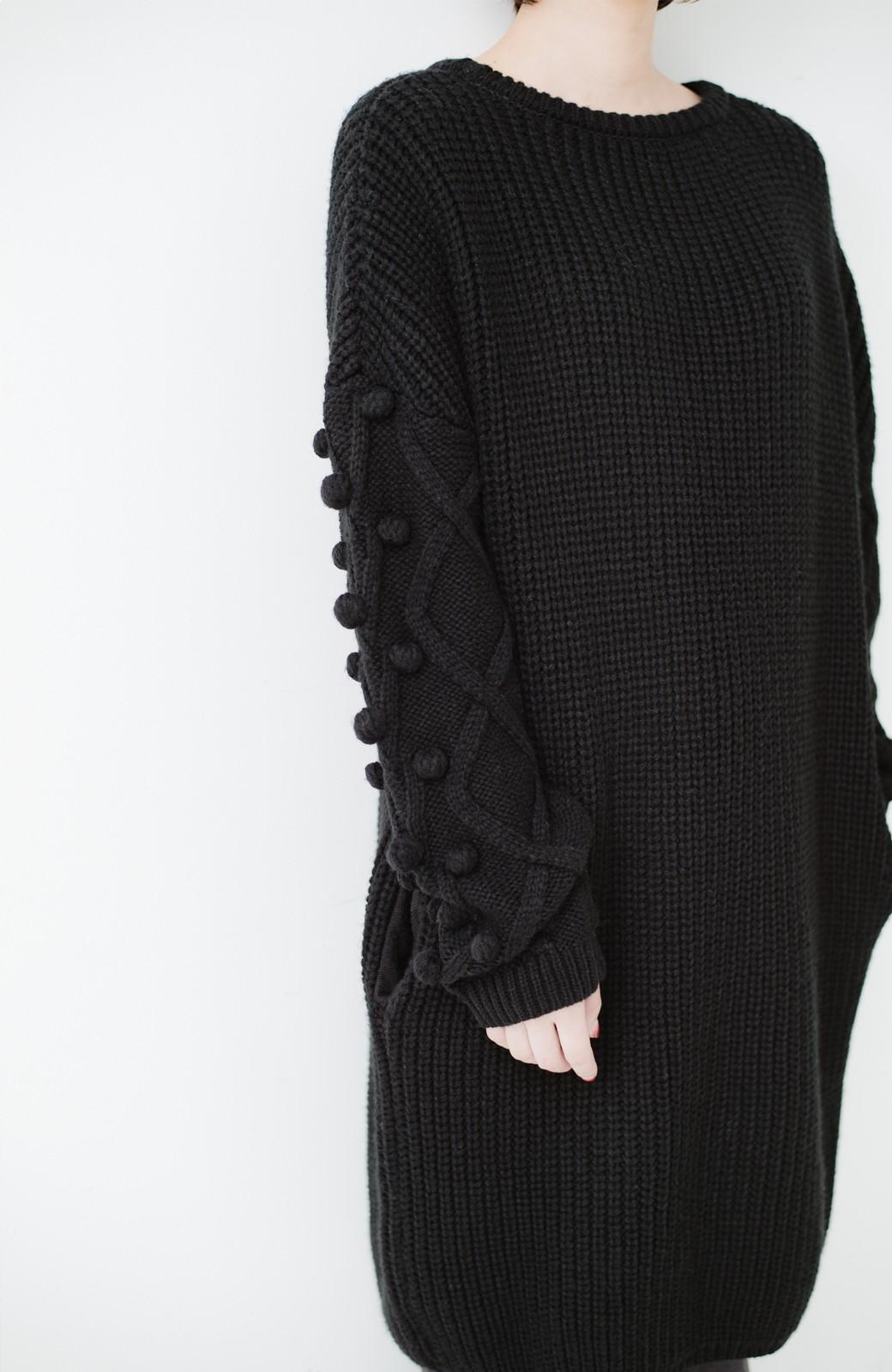 nusy パプコーン編みがかわいい おしゃれニットワンピ <ブラック>の商品写真3