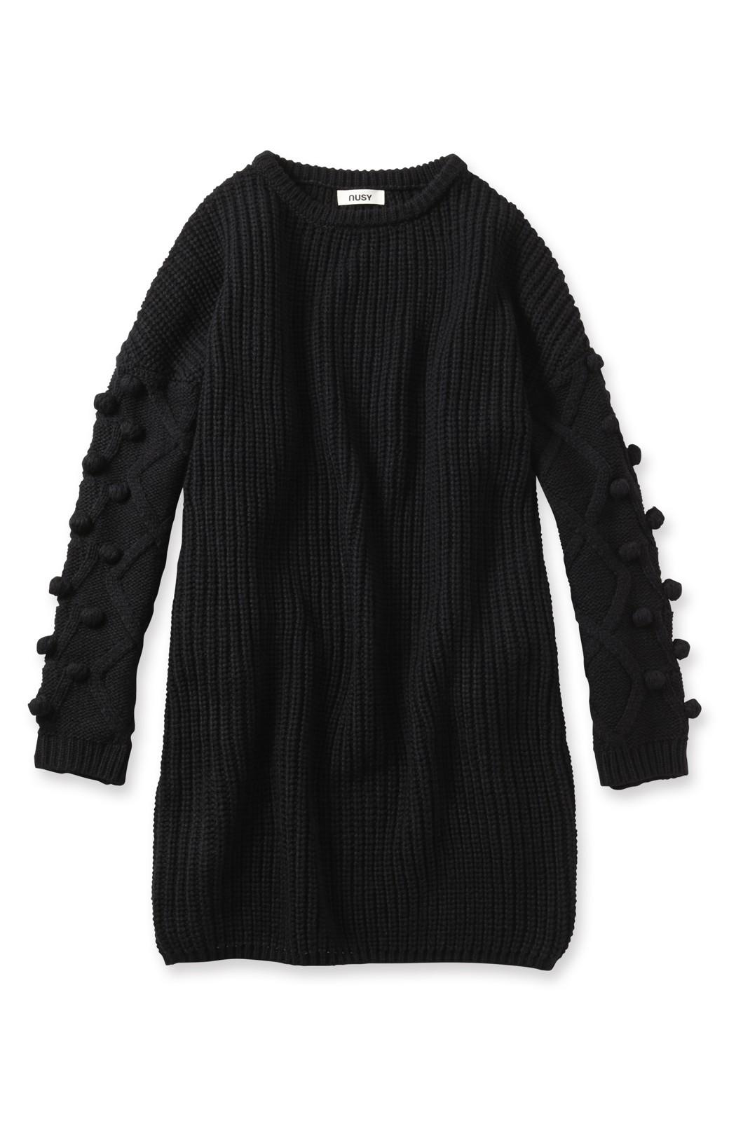nusy パプコーン編みがかわいい おしゃれニットワンピ <ブラック>の商品写真1