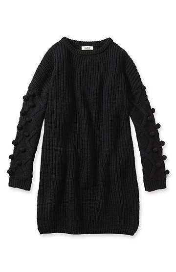 nusy パプコーン編みがかわいい おしゃれニットワンピ <ブラック>の商品写真