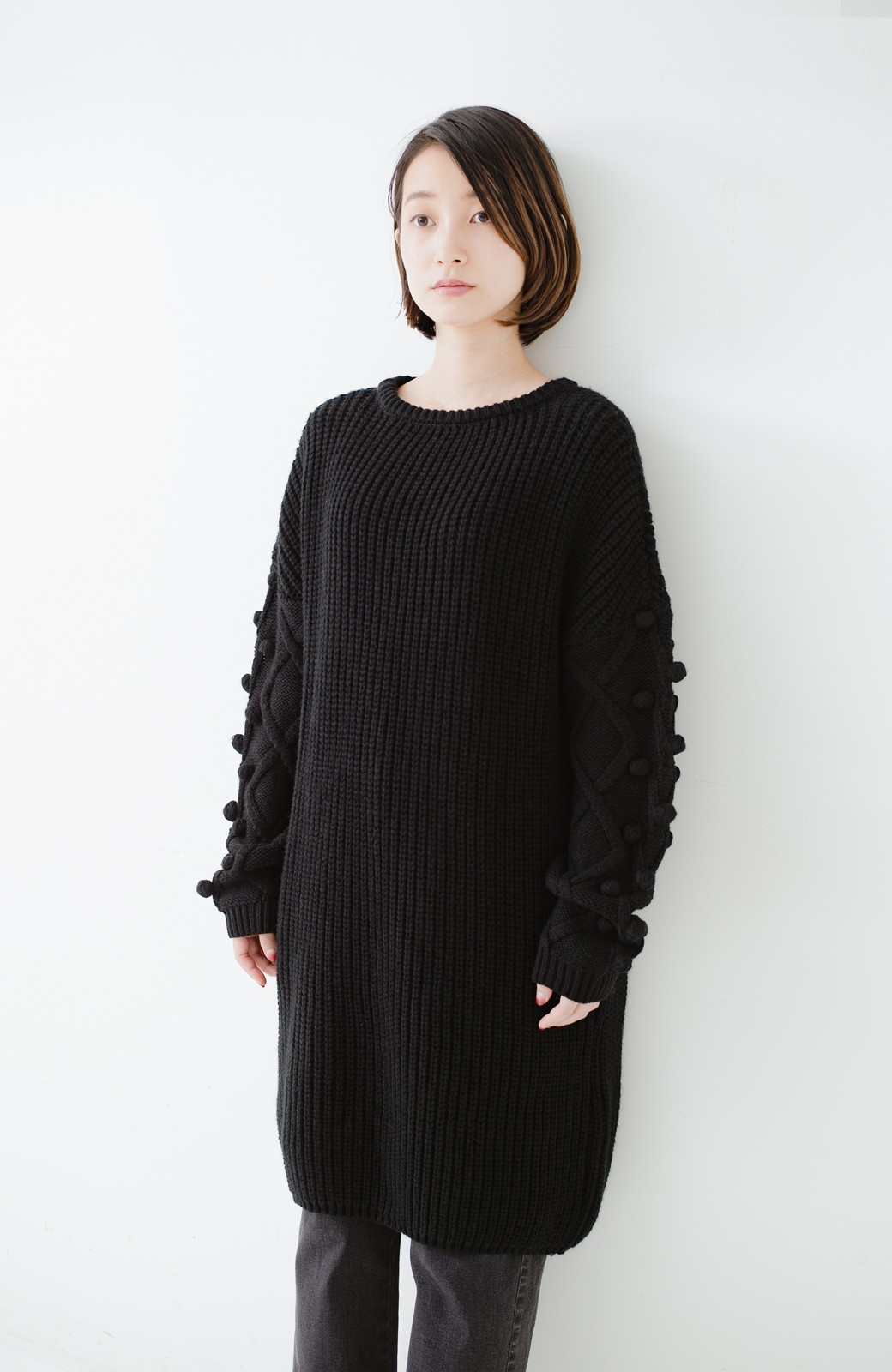 nusy パプコーン編みがかわいい おしゃれニットワンピ <ブラック>の商品写真2