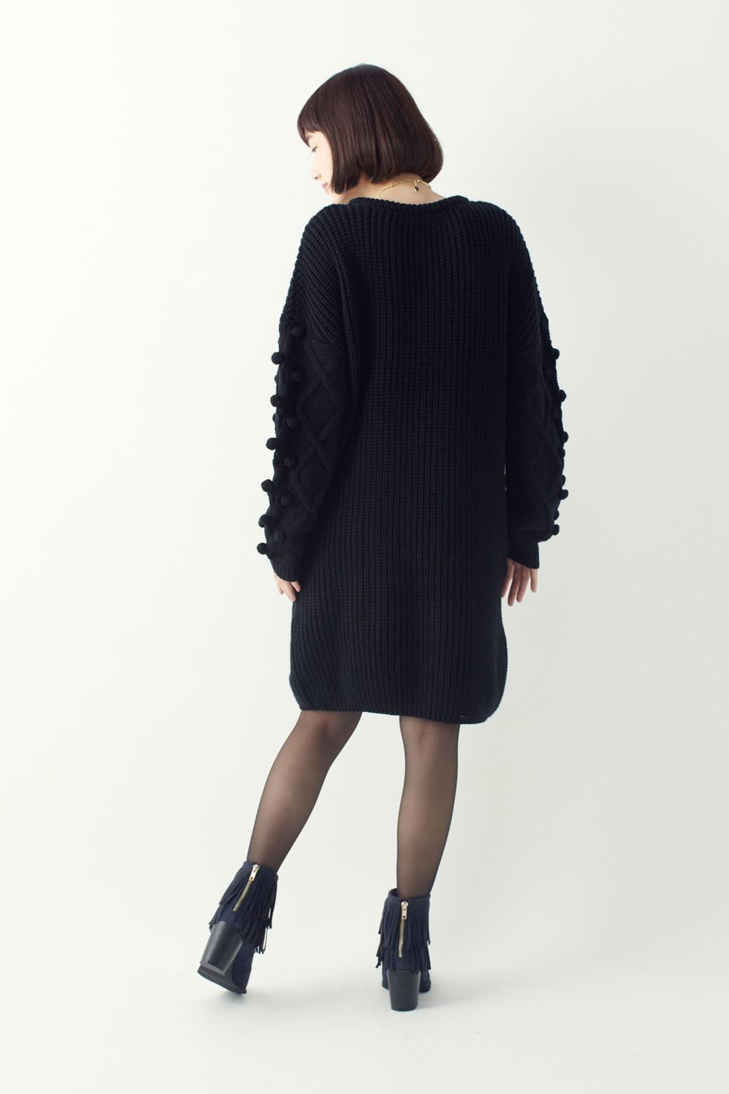 nusy パプコーン編みがかわいい おしゃれニットワンピ <ブラック>の商品写真9