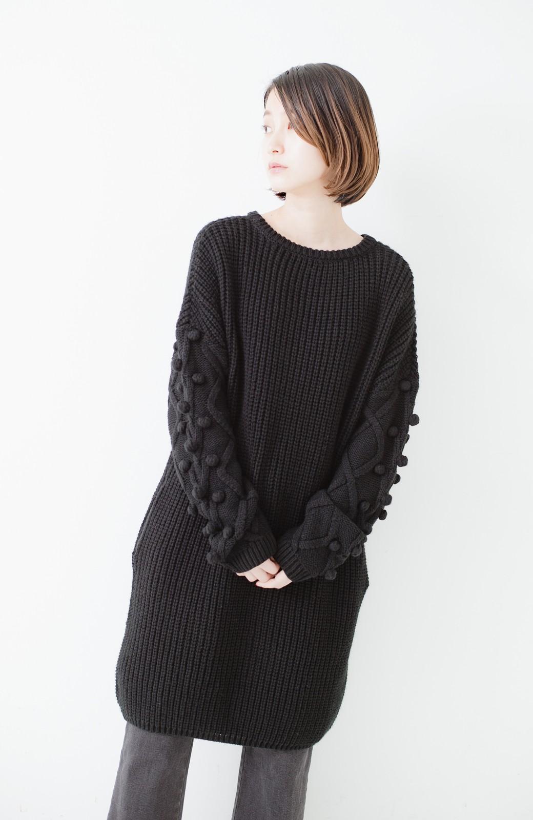 nusy パプコーン編みがかわいい おしゃれニットワンピ <ブラック>の商品写真14