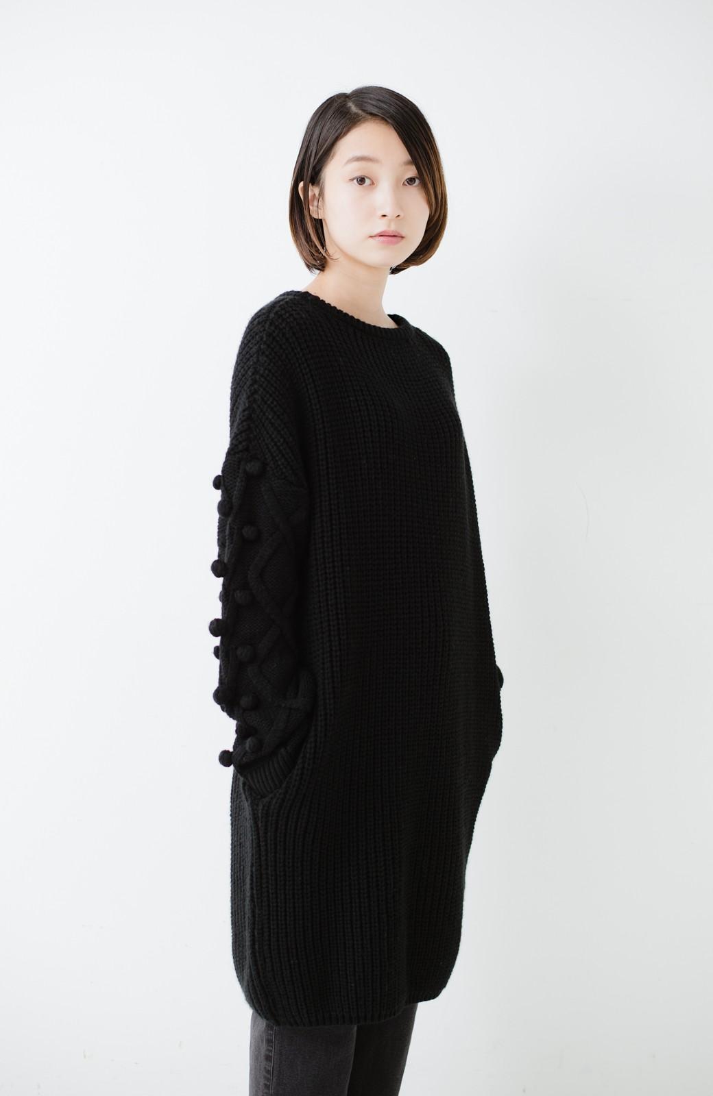 nusy パプコーン編みがかわいい おしゃれニットワンピ <ブラック>の商品写真15